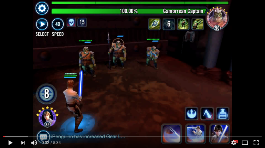 SWGoH - velitel Luke vs. Rancor
