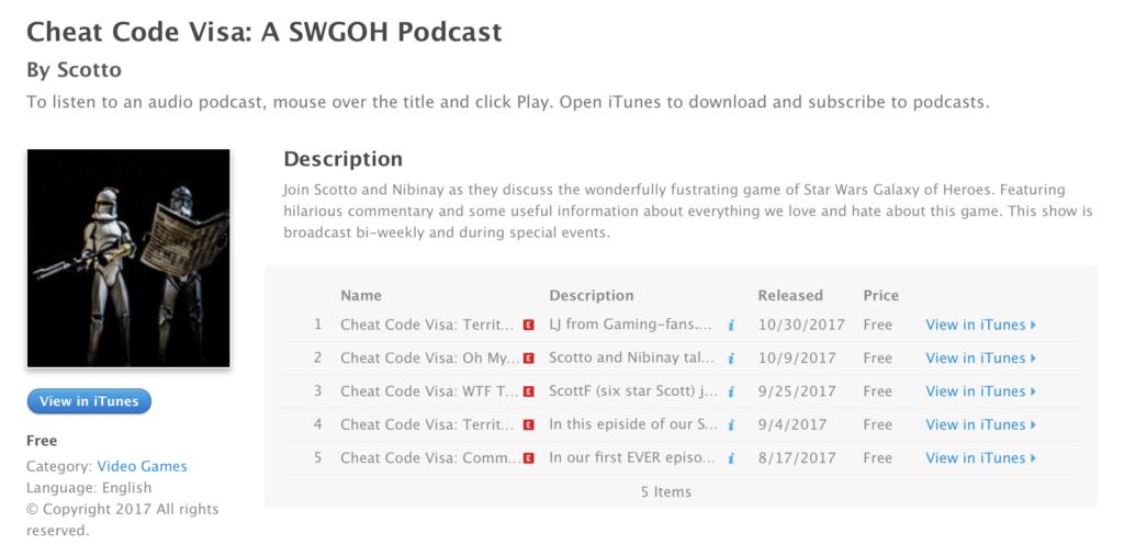 Cheat Code Visa SWGoH Podcast