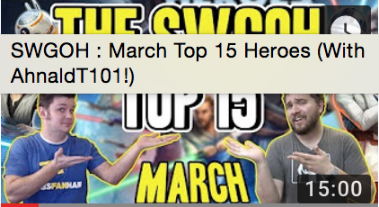 Top 15 SWGoH - March 2018