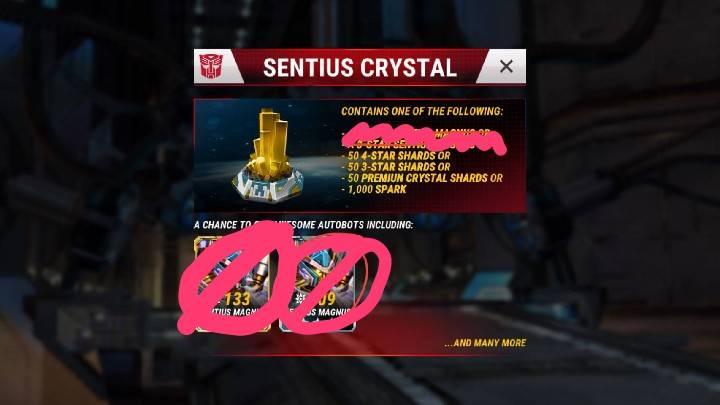 TFEW Sentius-krystaller