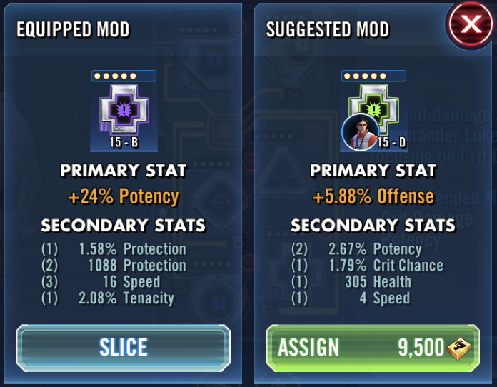 SWGoH 101 Mod Guide: Mod Views and In-Game Recommendations