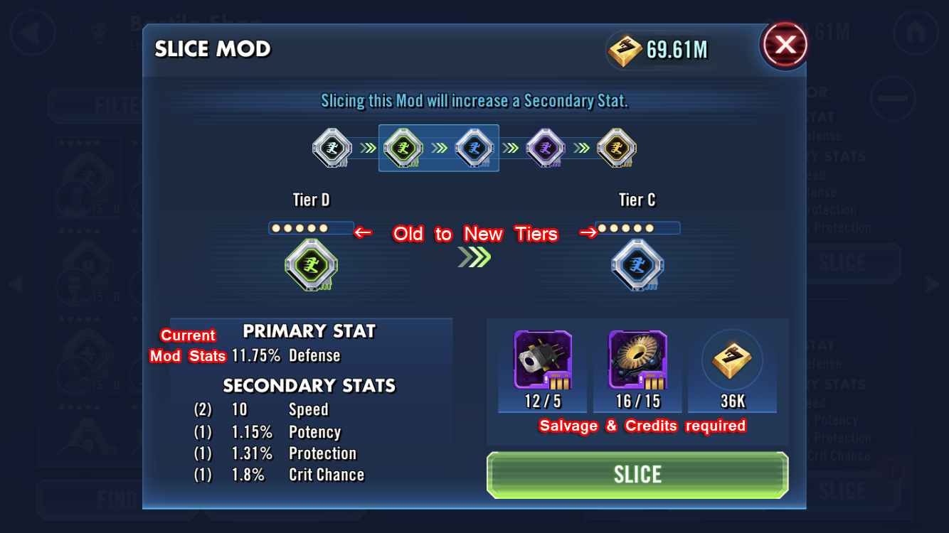 SWGoH 101 Mod Guide: Mod Slicing - How To & Mod Salvage
