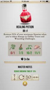 HPWU - Healing Potion Master Notes