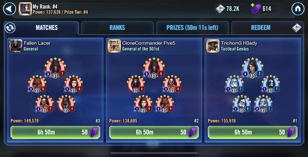 SWGoH Squad Arena con il generale Skywalker