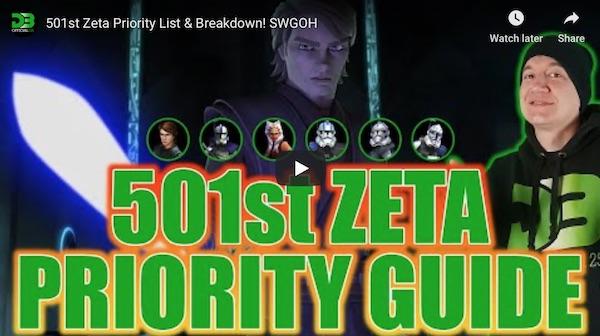 SWGoH - 501st Zeta List