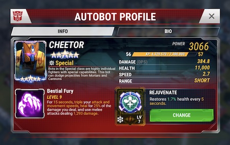 TFEW - Cheetor - 5 stjerner