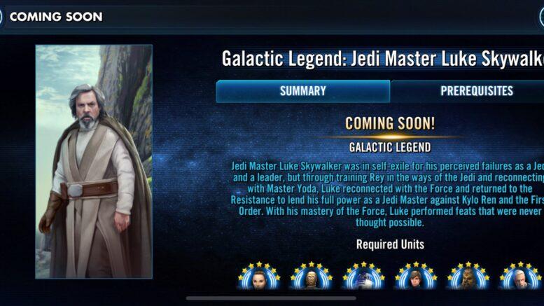 SWGoH - ጋላክሲያዊ Legend Jedi Master Luke Luke Skywalker