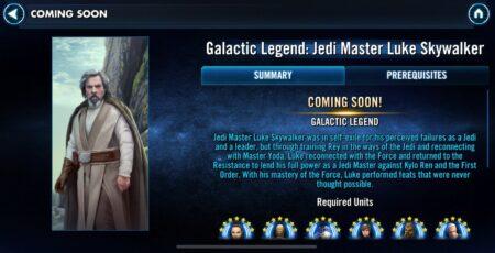 SWGoH - Maestro Jedi leggenda galattica Luke Skywalker