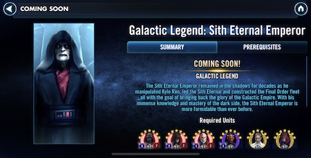SWGoH - Galactic Legend Sith Eternal Emperor
